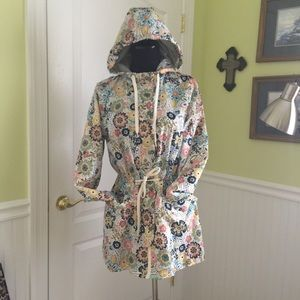 Fleece lined flower print rain jacket